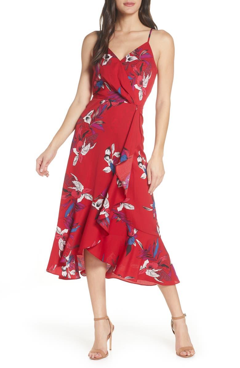 CHELSEA28 Faux Wrap Floral Midi Dress, Main, color, RED FLORAL