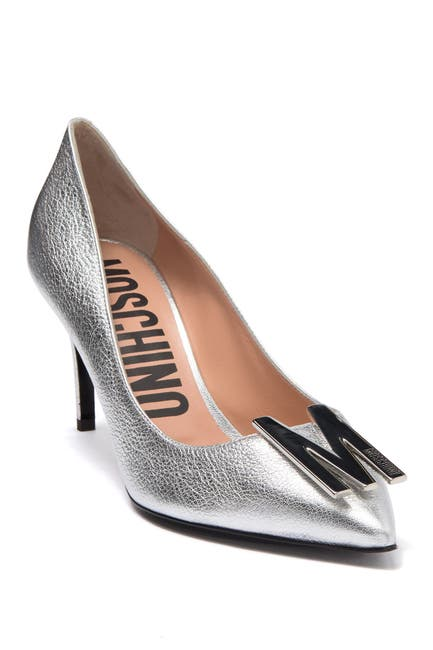 Image of MOSCHINO Logo Hardware Pointed Toe Pump