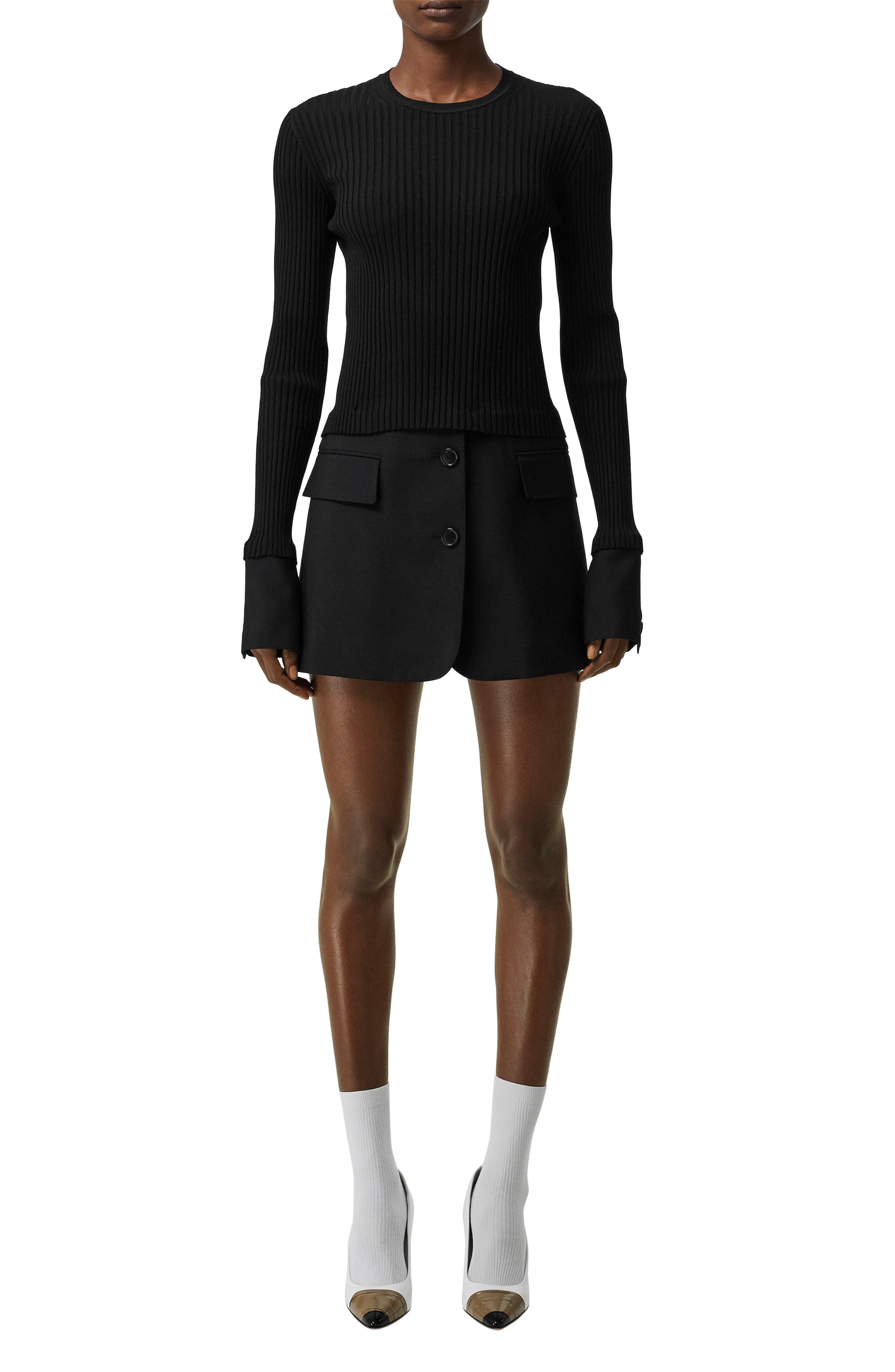 Burberry Long Sleeve Tailored Hem Rib Sweater Dress, Black