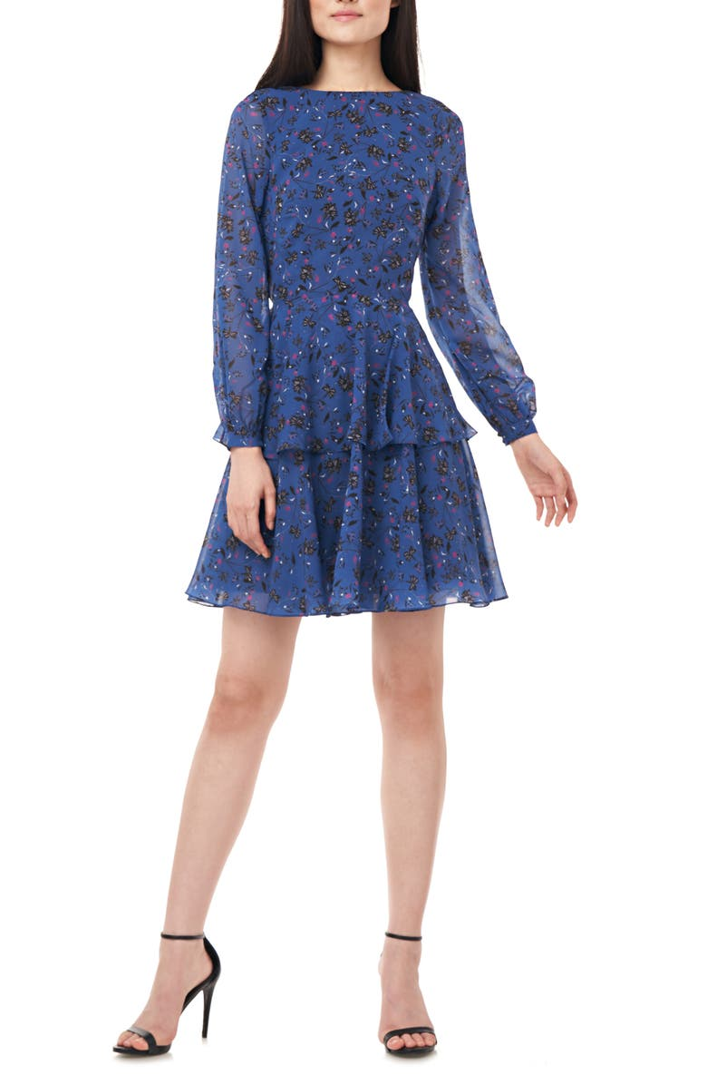 LOVE BY THEIA Floral Print Long Sleeve Chiffon Cocktail Dress, Main, color, NAVY
