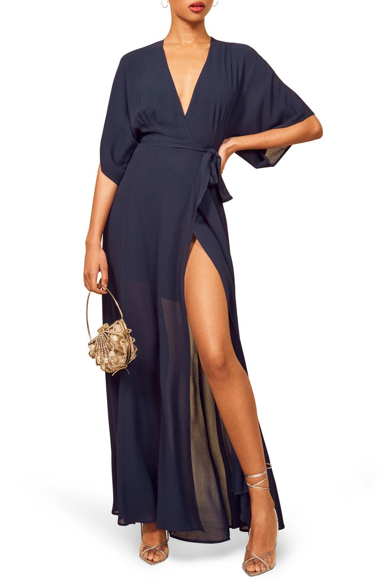 REFORMATION Winslow Maxi Dress, Main, color, NAVY