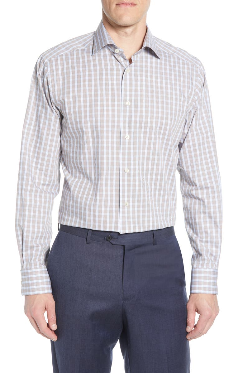 ETON Contemporary Fit Plaid Dress Shirt, Main, color, BROWN