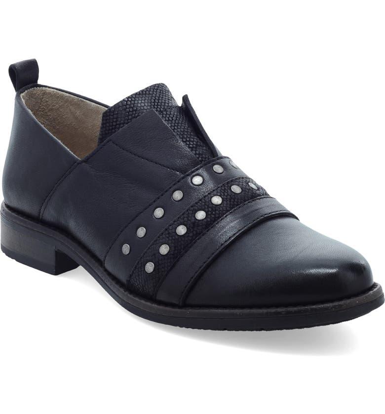 MIZ MOOZ Studded Slip-On, Main, color, BLACK LEATHER