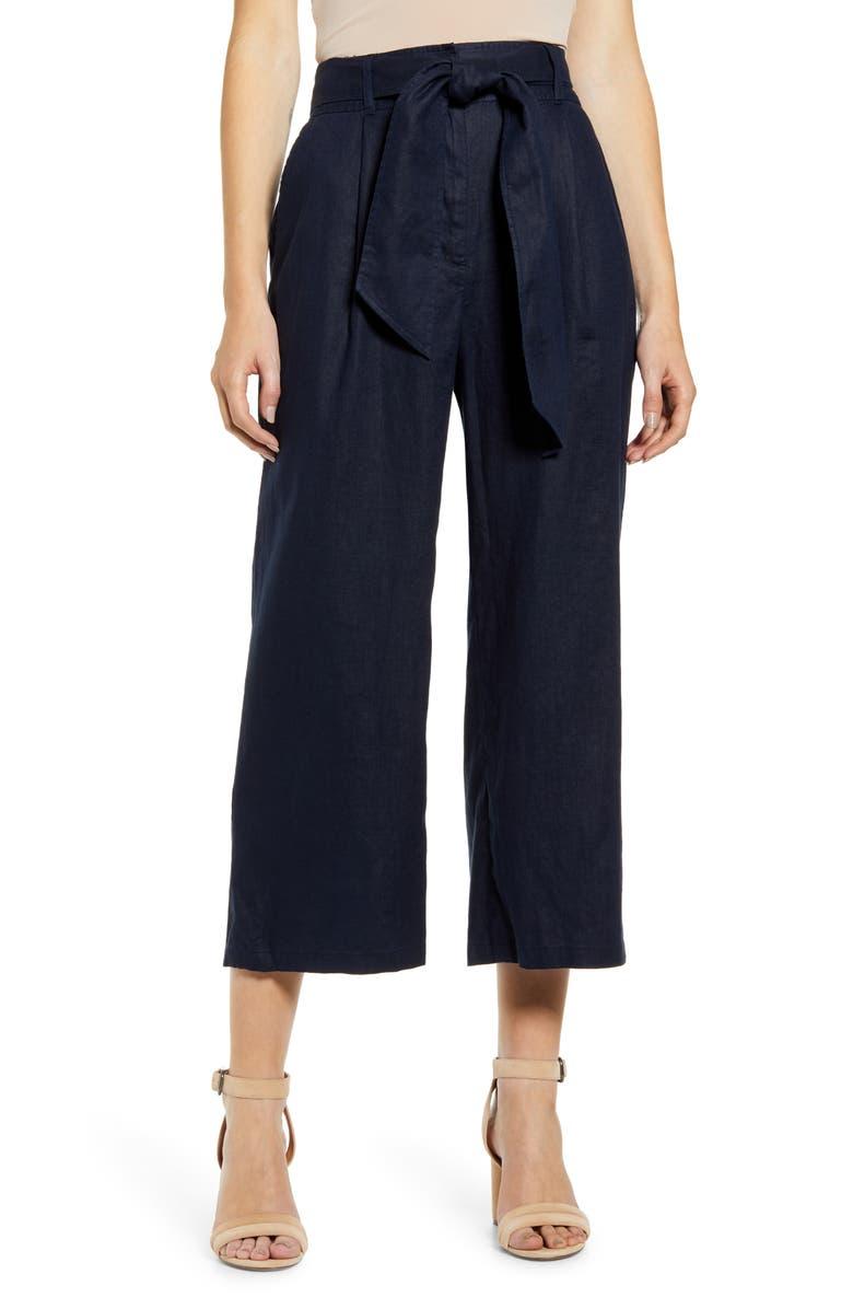 CHELSEA28 Tie Waist Crop Wide Leg Linen Pants, Main, color, NAVY NIGHT