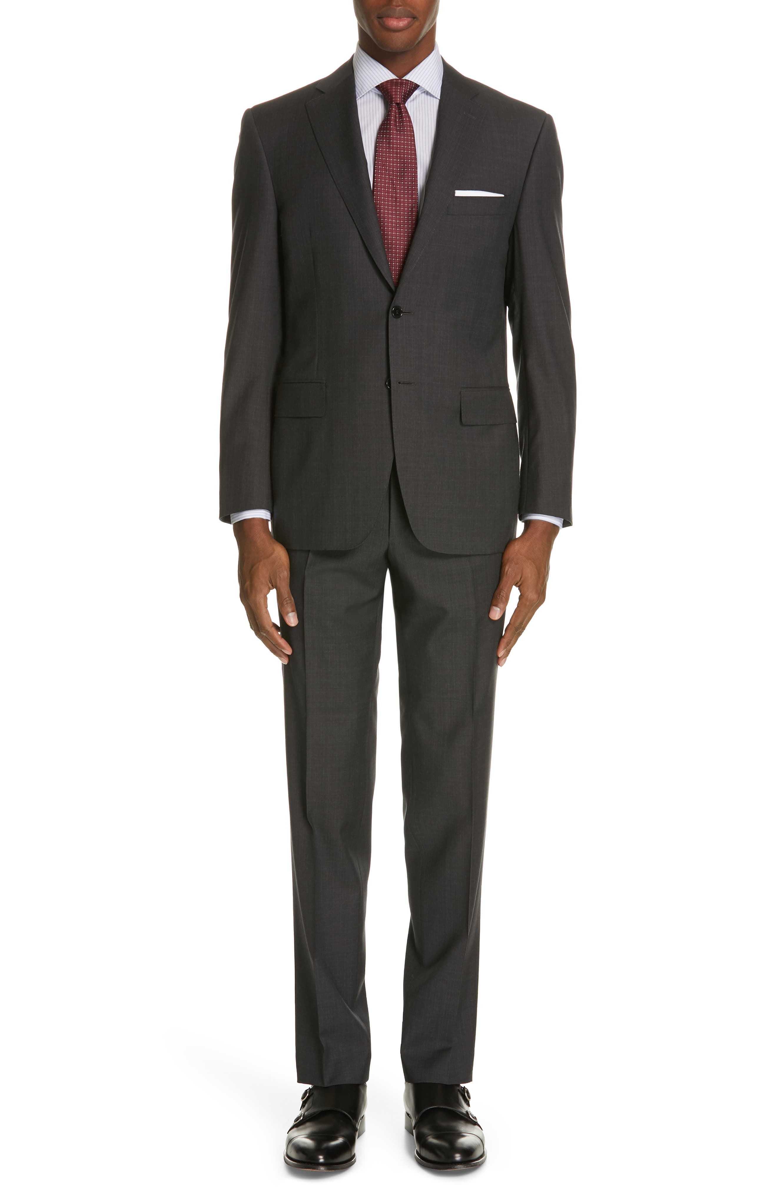 Siena Classic Fit Solid Super 130s Wool Suit, Main, color, BLACK