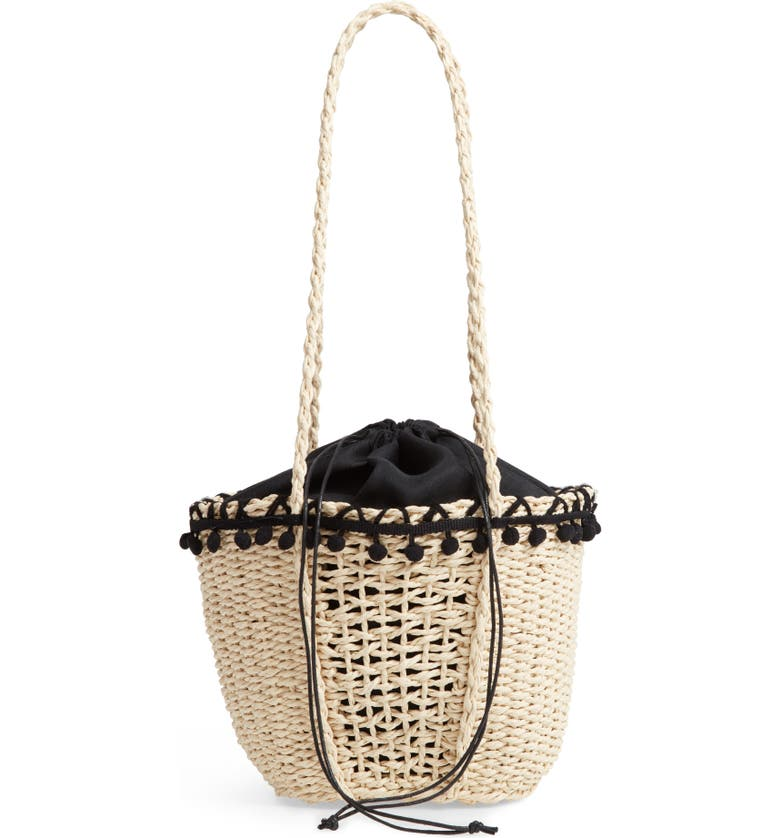 KNOTTY Straw Pompom Tote, Main, color, NATURAL