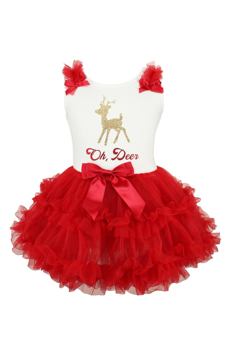 POPATU Oh, Deer Sparkle Pettidress, Main, color, RED