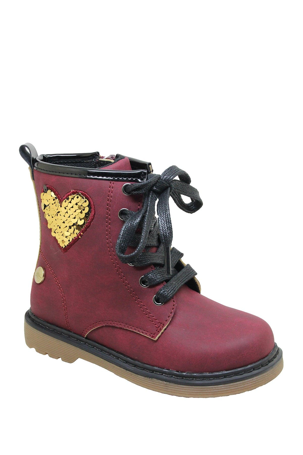 Image of Nicole Miller Sequin Patch Lace-Up Boot