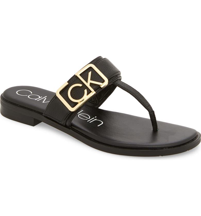 CALVIN KLEIN Tamura Flip Flop, Main, color, BLACK LEATHER