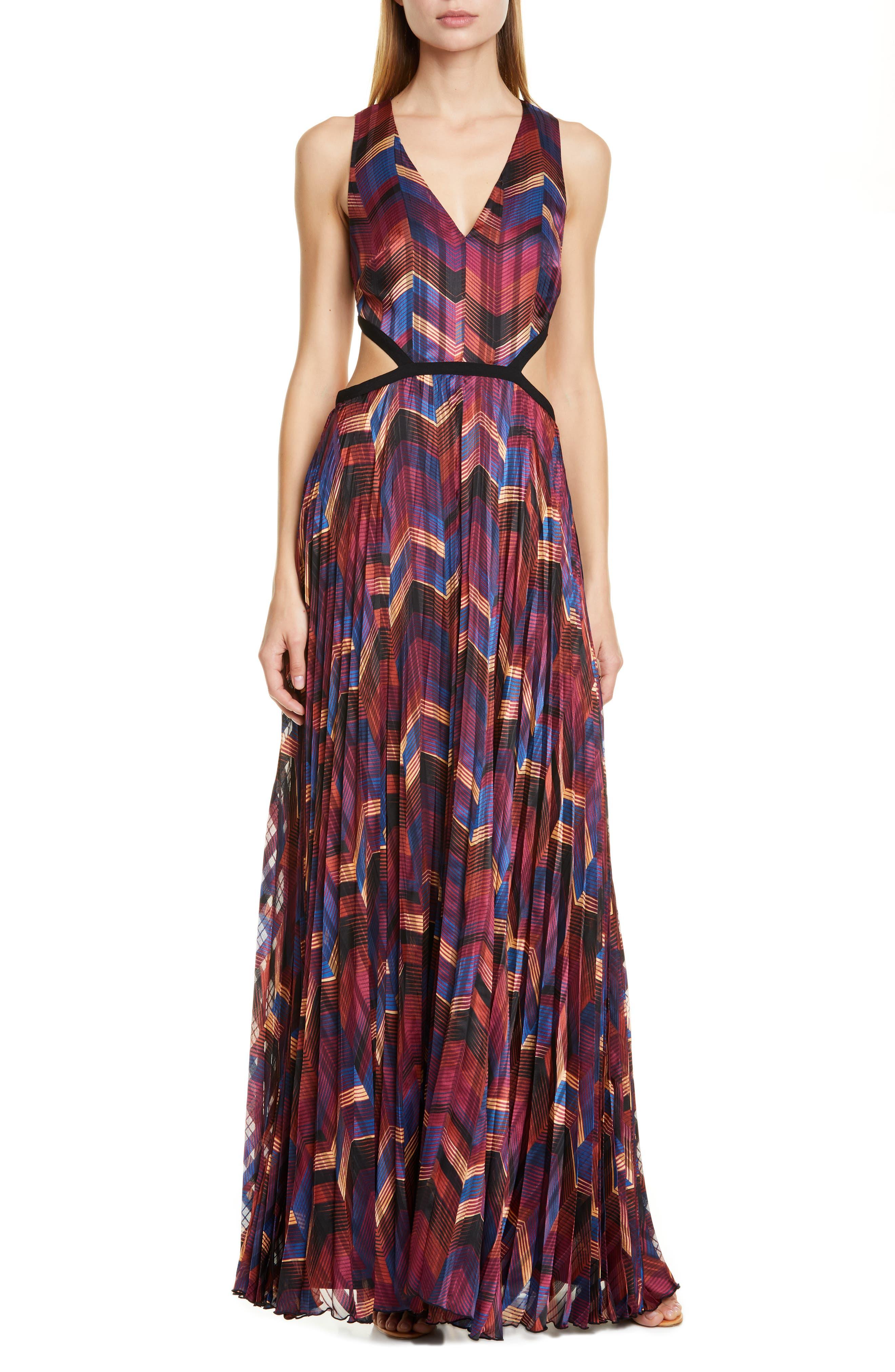 Ba & sh Pia Pleated Maxi Dress, Burgundy