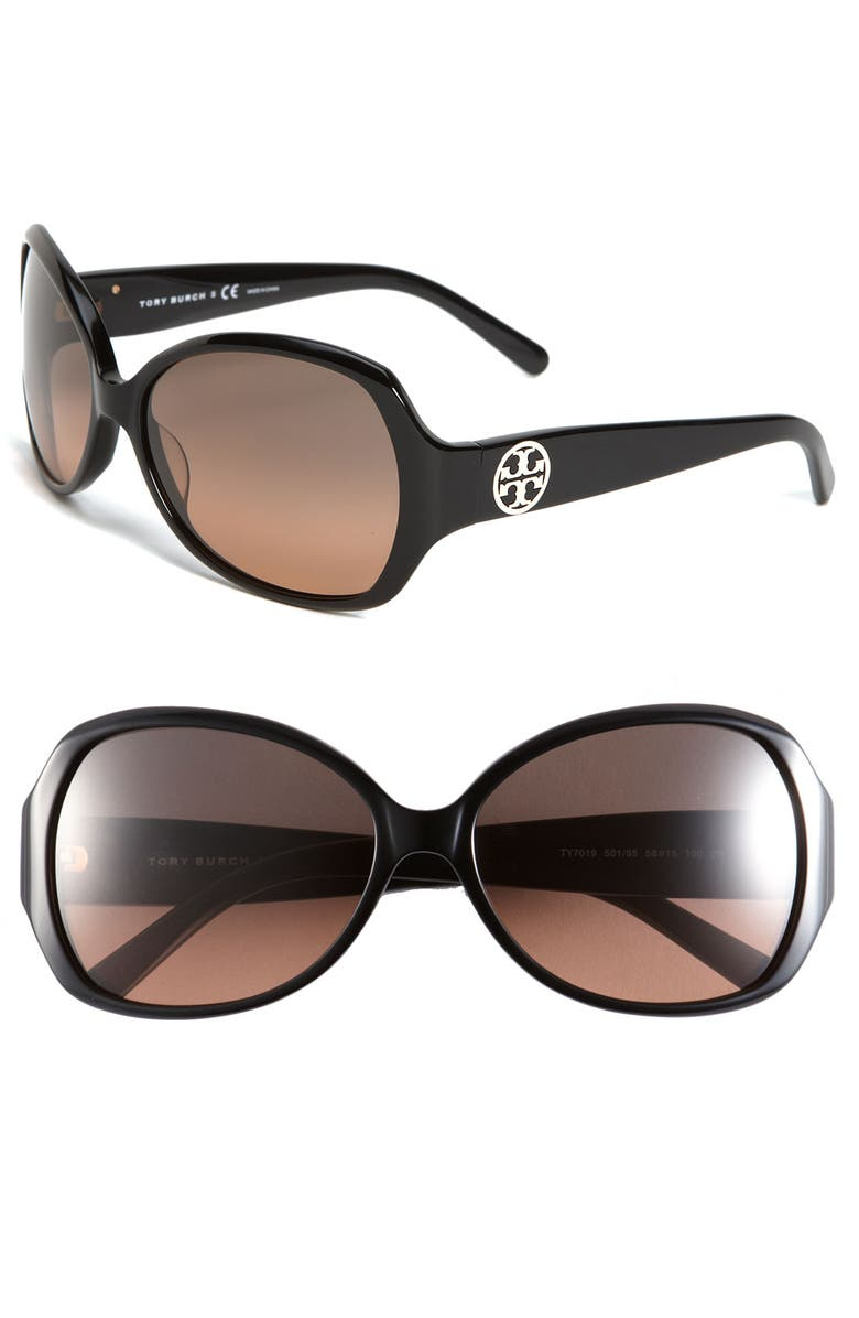 TORY BURCH 58mm Oversized Square Sunglasses, Main, color, 001