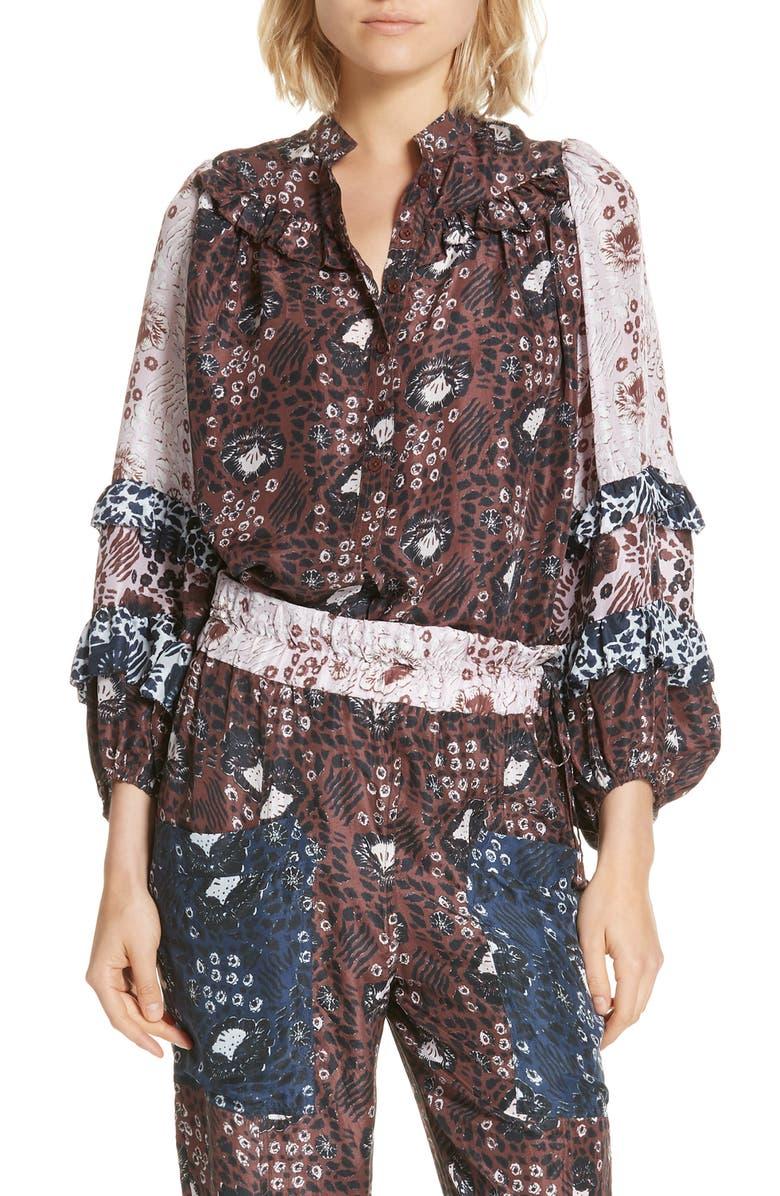 APIECE APART Bravissima Ruffle Sleeve Silk Blouse, Main, color, 935