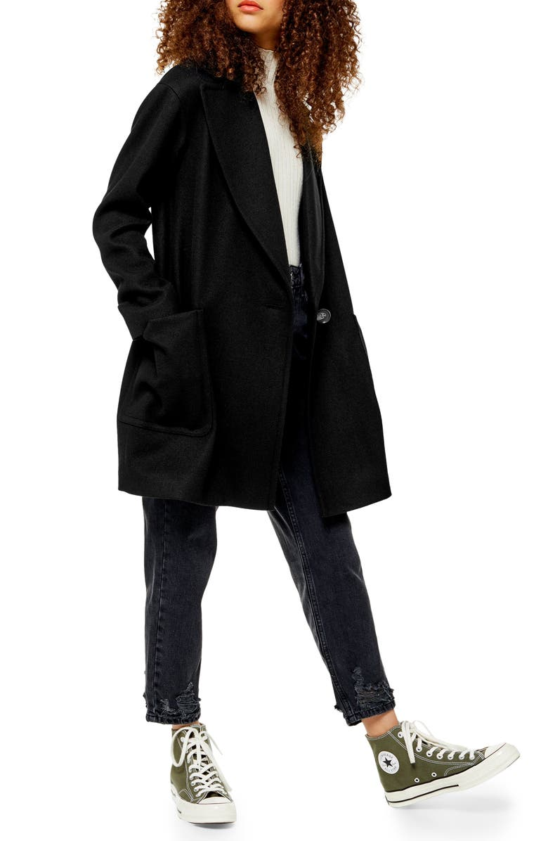 TOPSHOP Carly Coat, Main, color, BLACK