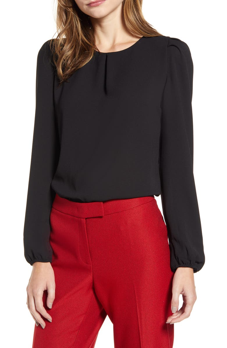 ANNE KLEIN Puff Shoulder Long Sleeve Blouse, Main, color, 001