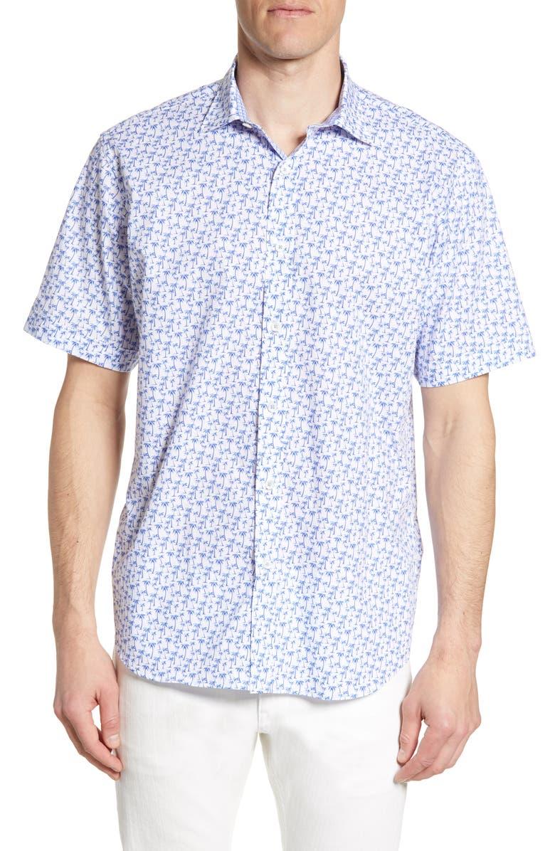 BUGATCHI Classic Fit Palm Print Shirt, Main, color, 422
