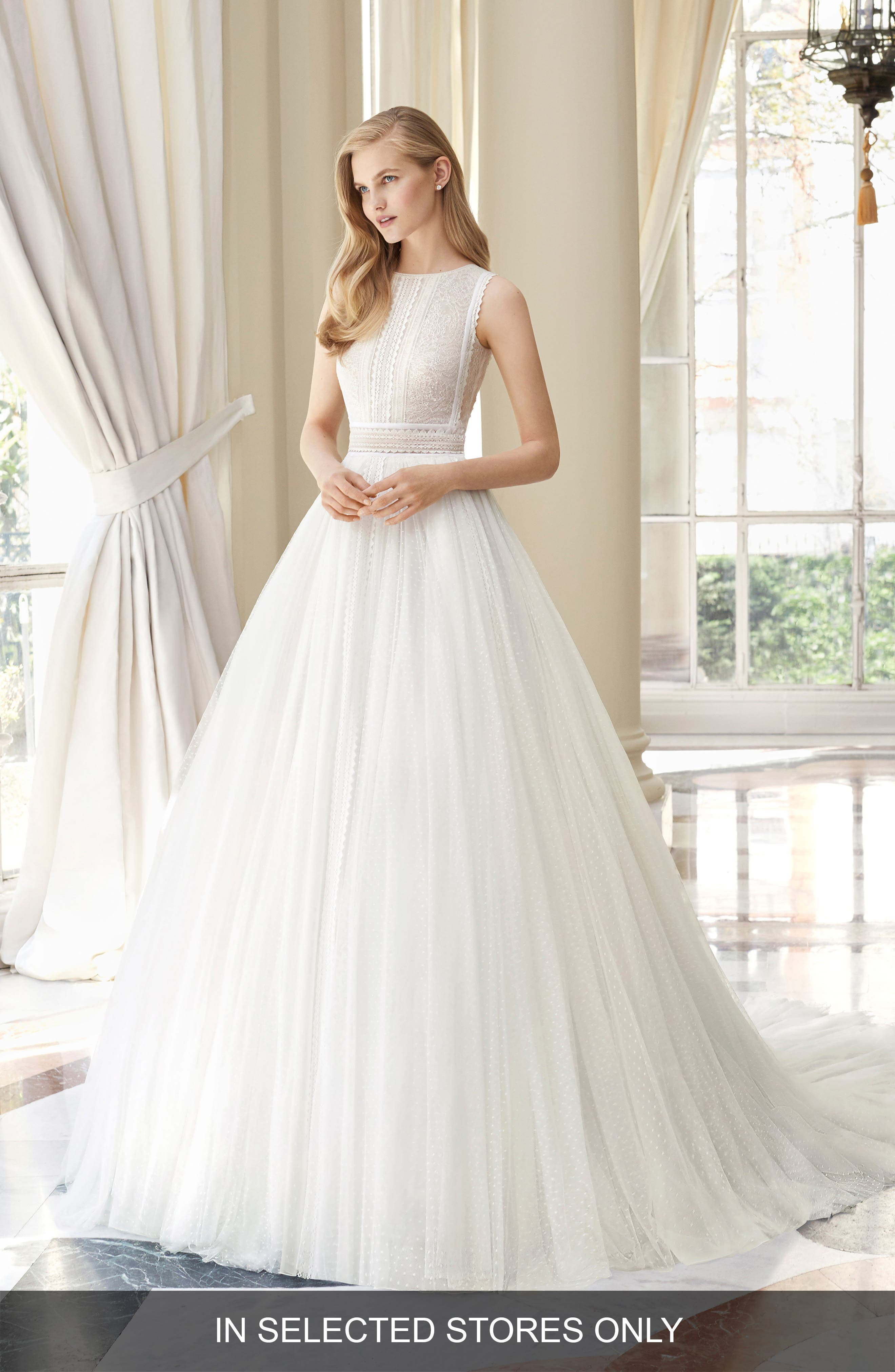 Rosa Clara Couture Medina Lace & Swiss Dot Ballgown, Size IN STORE ONLY - Ivory