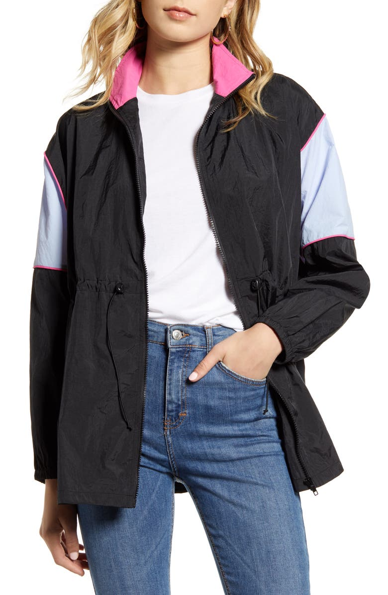 TEN SIXTY SHERMAN Cinched Colorblock Windbreaker Jacket, Main, color, BLACK/ LAVENDER/ HOT PINK