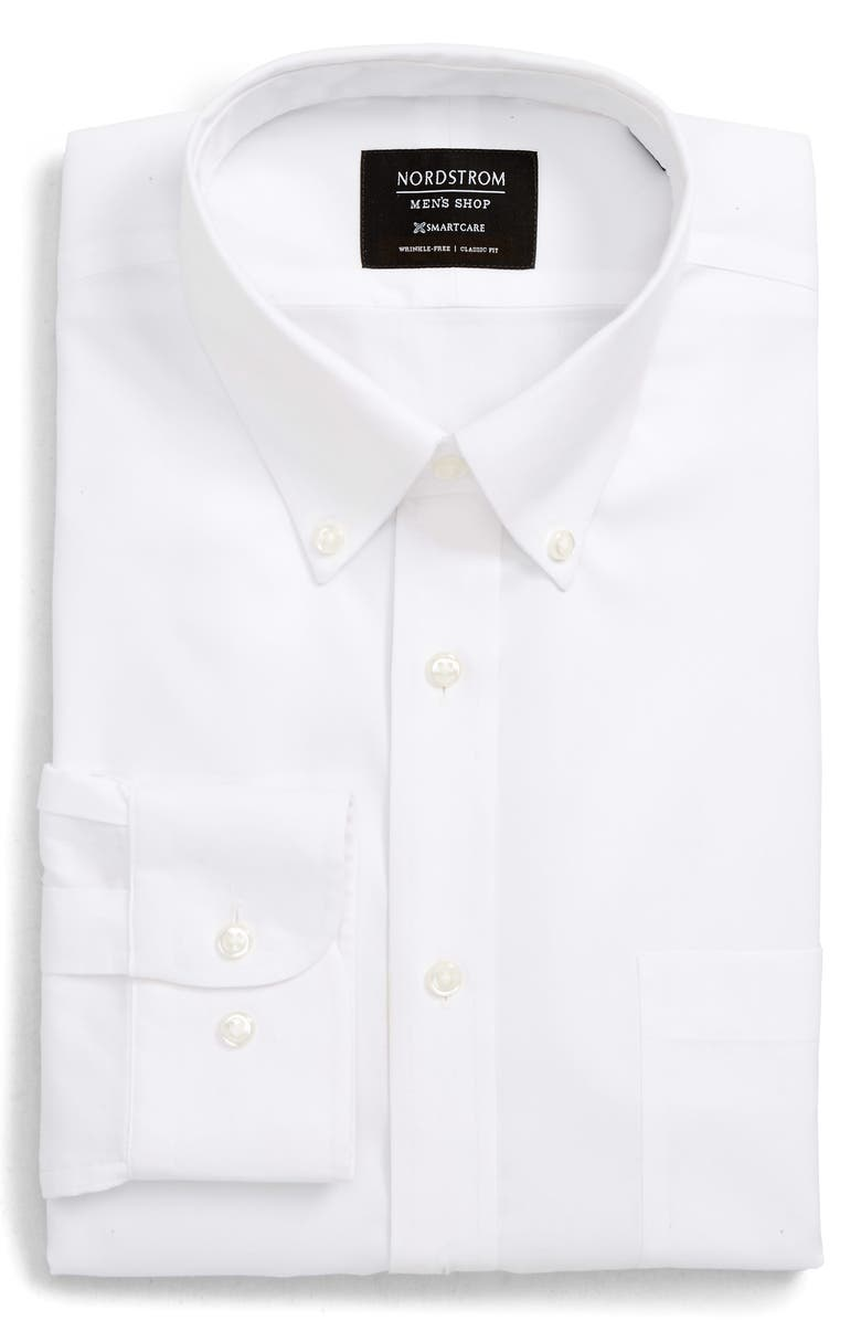 NORDSTROM MEN'S SHOP Smartcare<sup>™</sup> Classic Fit Dress Shirt, Main, color, WHITE BRILLIANT