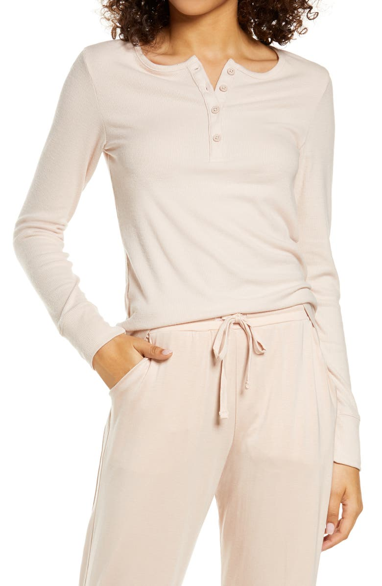 TOMMY JOHN Lounge Henley Tee, Main, color, ROSE DUST