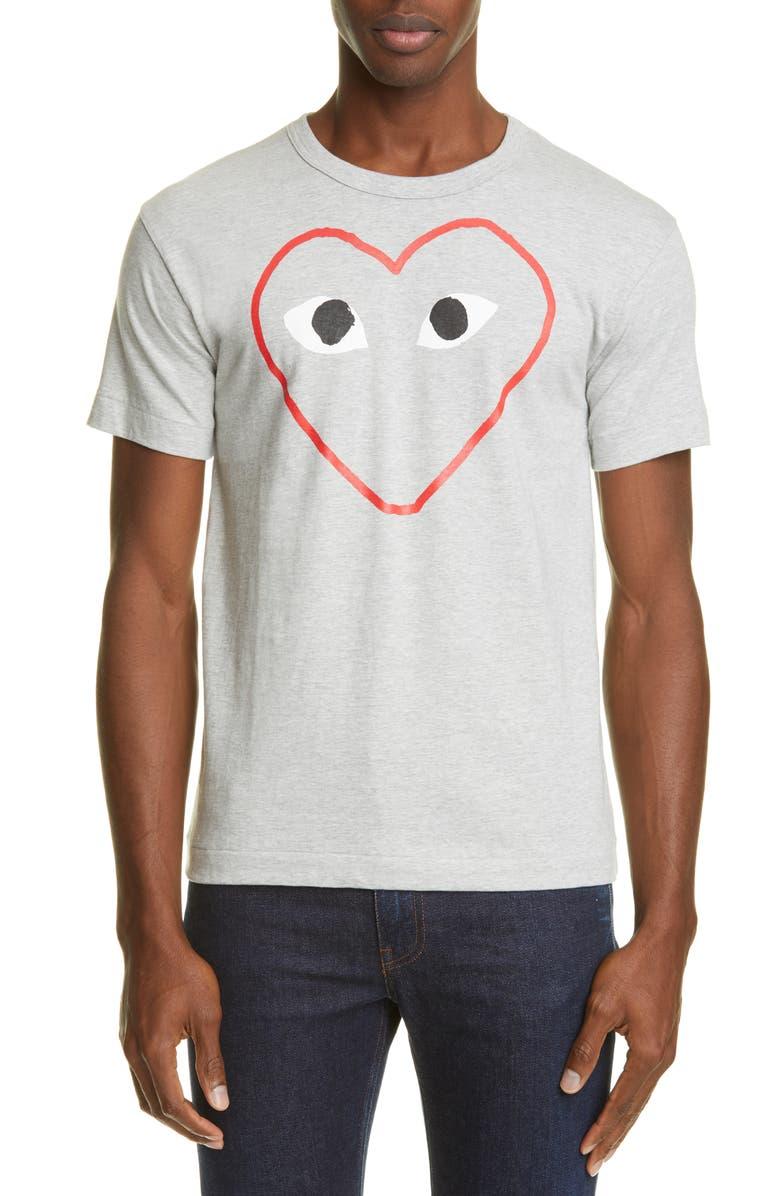 COMME DES GARÇONS PLAY Outline Heart T-Shirt, Main, color, GREY
