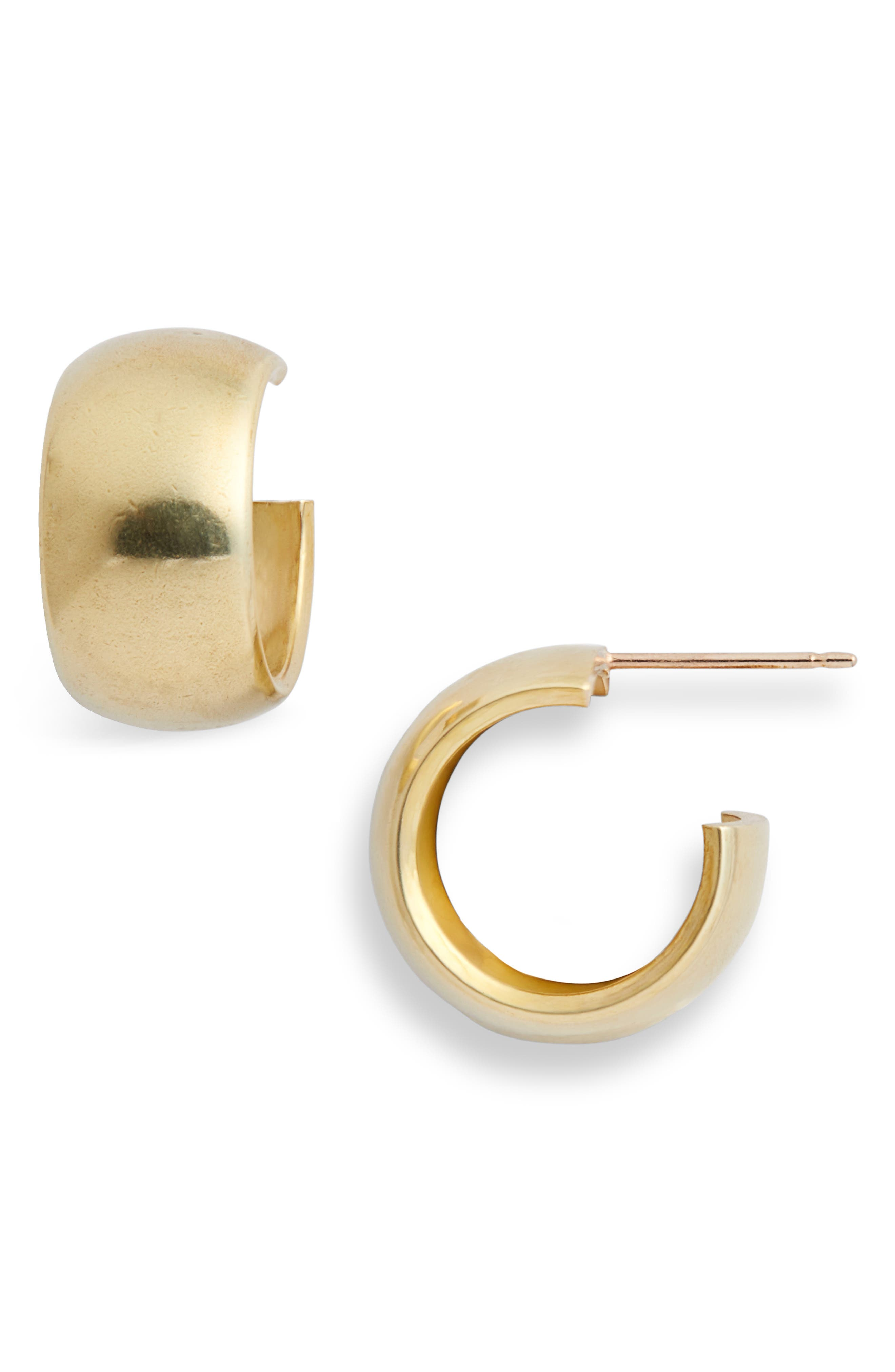 Luna Hoop Earrings, Main, color, BRASS