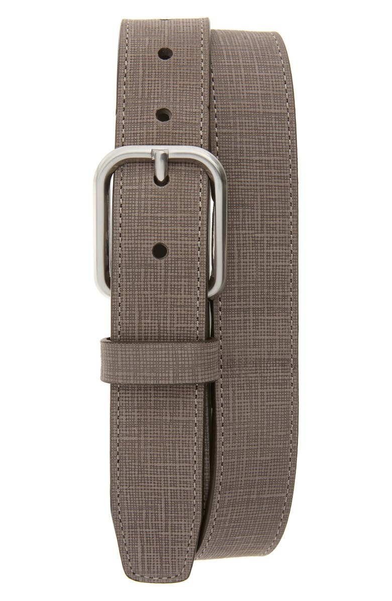 JOHNSTON & MURPHY Crosshatch Leather Belt, Main, color, GRAY