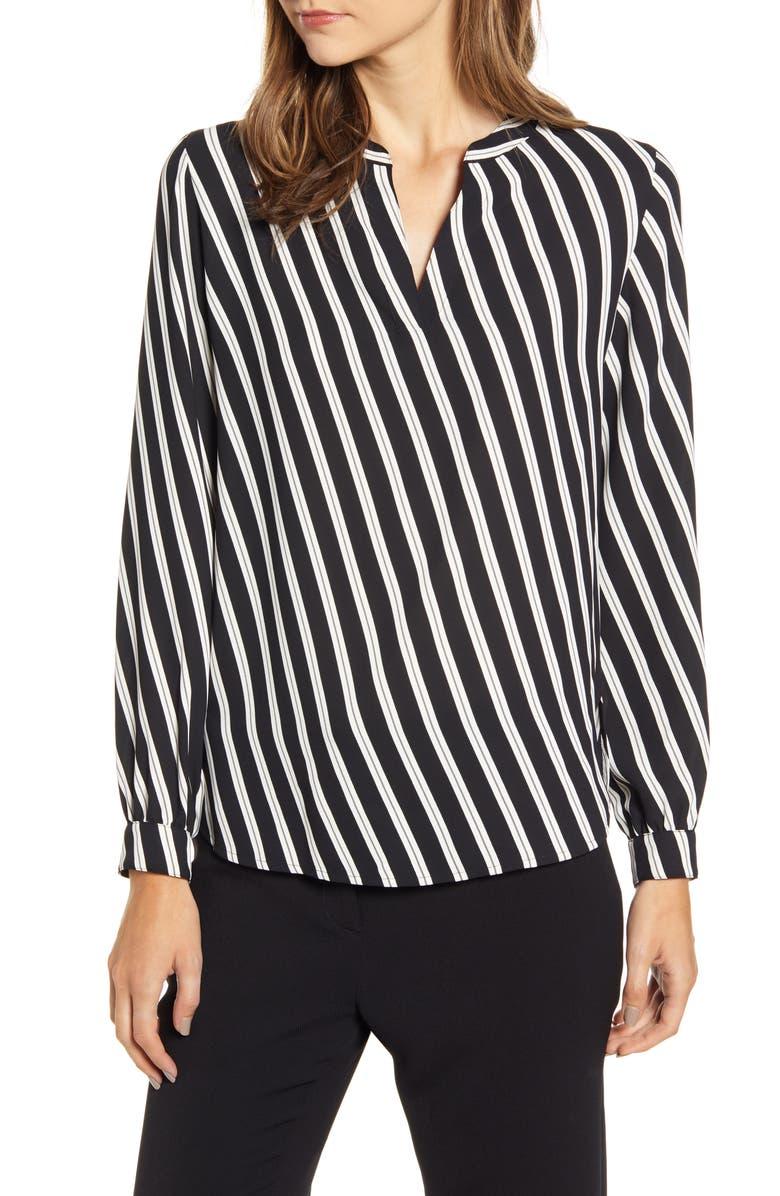 ANNE KLEIN Diagonal Stripe Split Neck Blouse, Main, color, ANNE BLACK/ ZINC COMBO