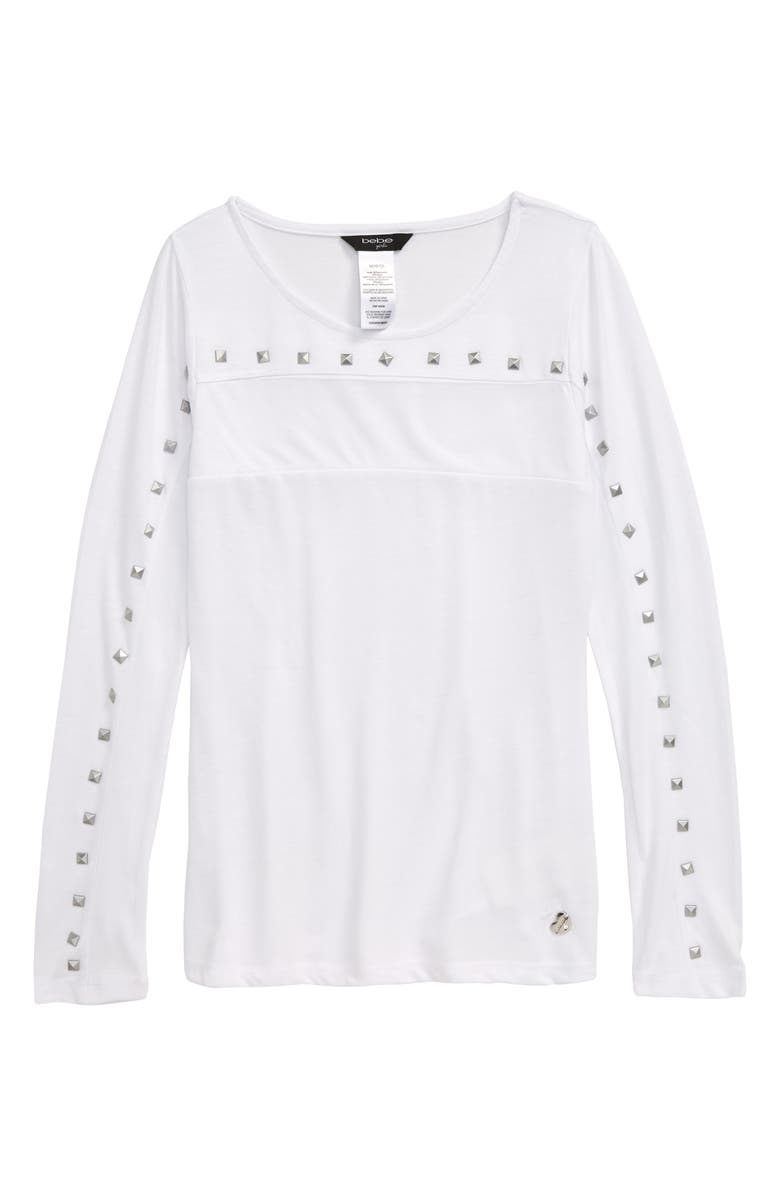 BEBE Studded Long Sleeve Top, Main, color, 100