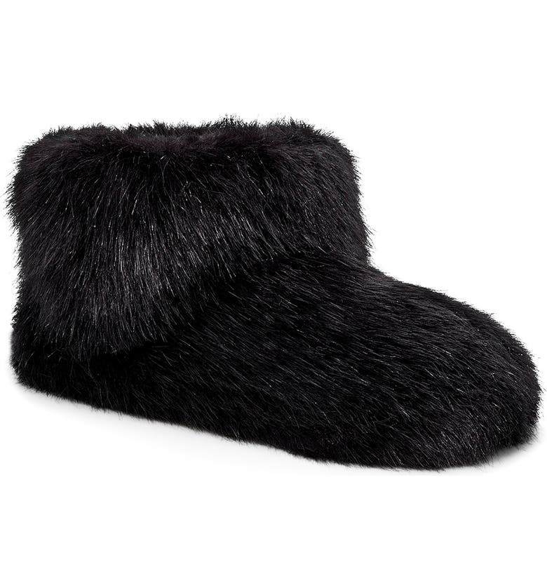 UGG<SUP>®</SUP> Amary Faux Fur Slipper Bootie, Main, color, BLACK FABRIC