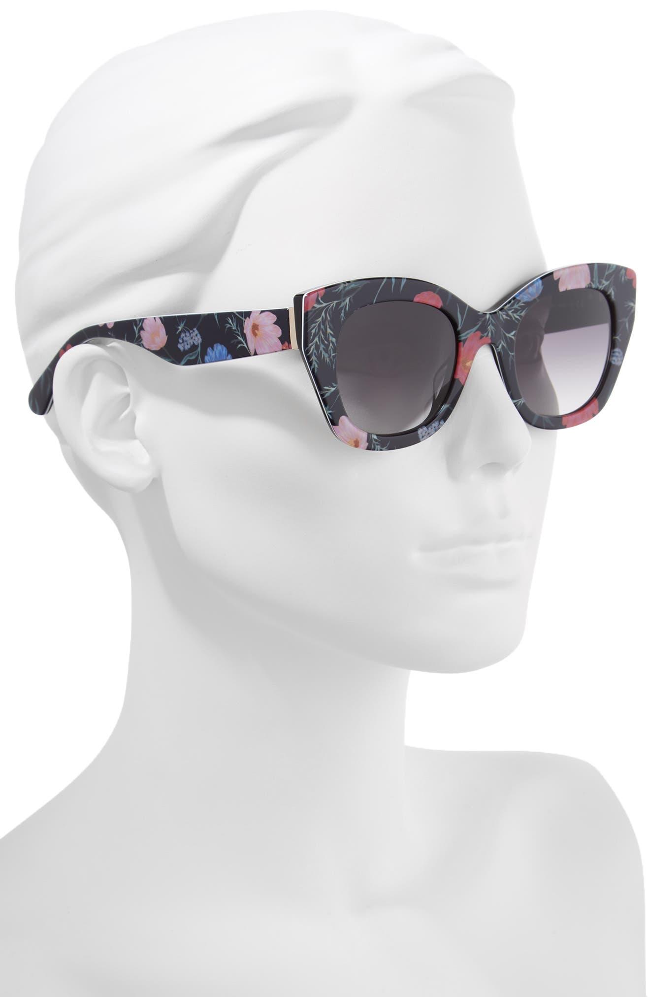 ,                             jalena 49mm gradient sunglasses,                             Alternate thumbnail 2, color,                             BLACK/ FLORAL PRINT