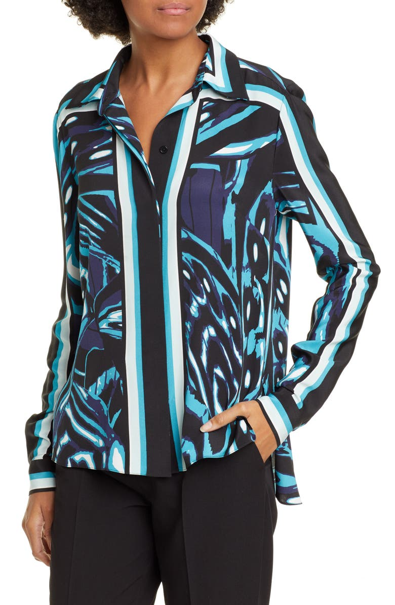 DVF Mai Blouse, Main, color, BLUE WING MULTI
