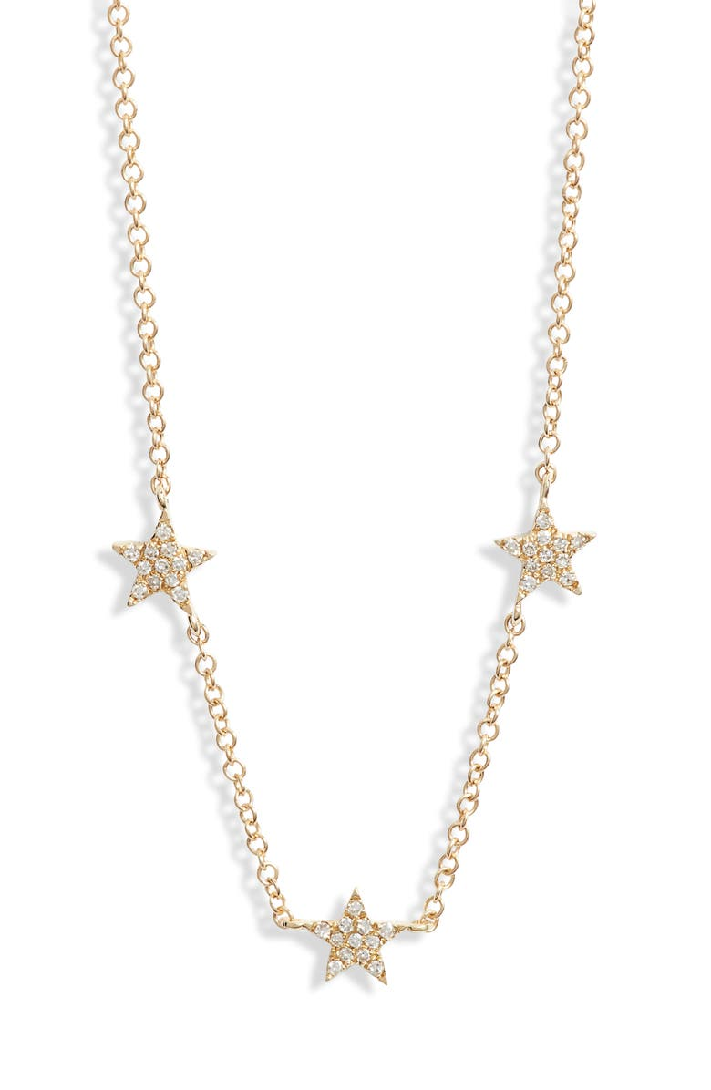 EF COLLECTION Three-Star Diamond Choker Necklace, Main, color, YELLOW GOLD/ BLUE TONES