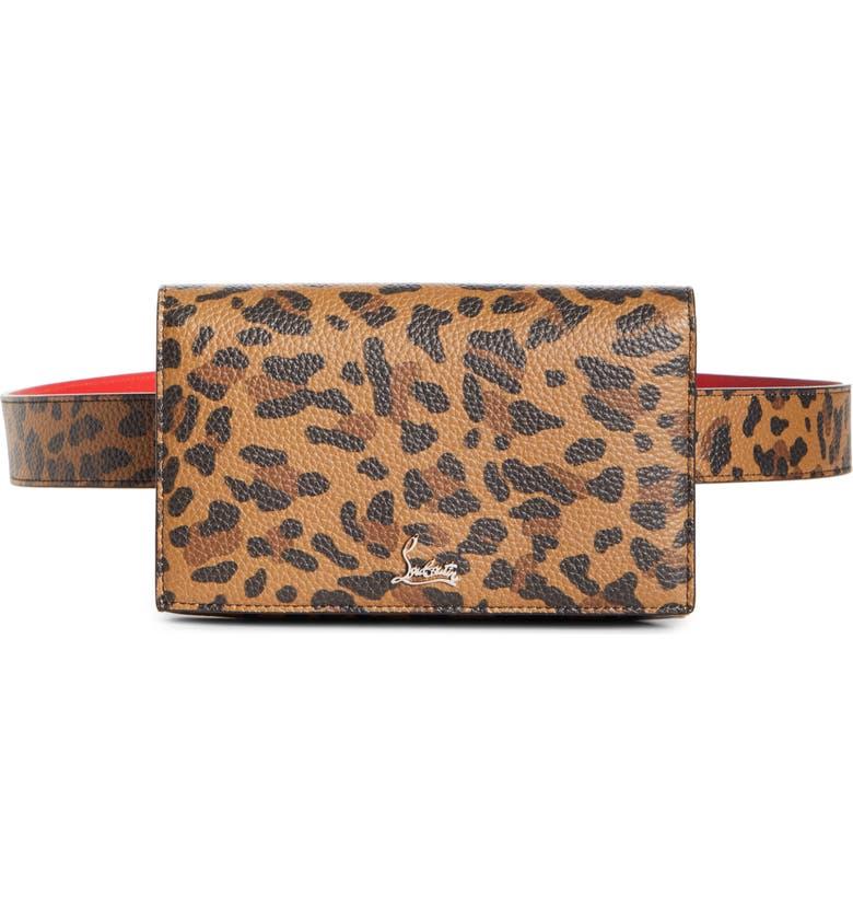 CHRISTIAN LOUBOUTIN Boudoir Leather Belt Bag, Main, color, CARAMEL/ SILVER
