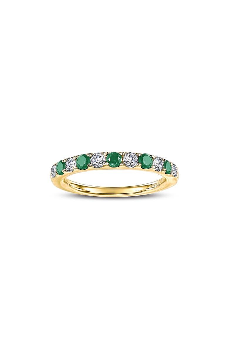 LAFONN Simulated Diamond Birthstone Band Ring, Main, color, MAY - GREEN/ GOLD
