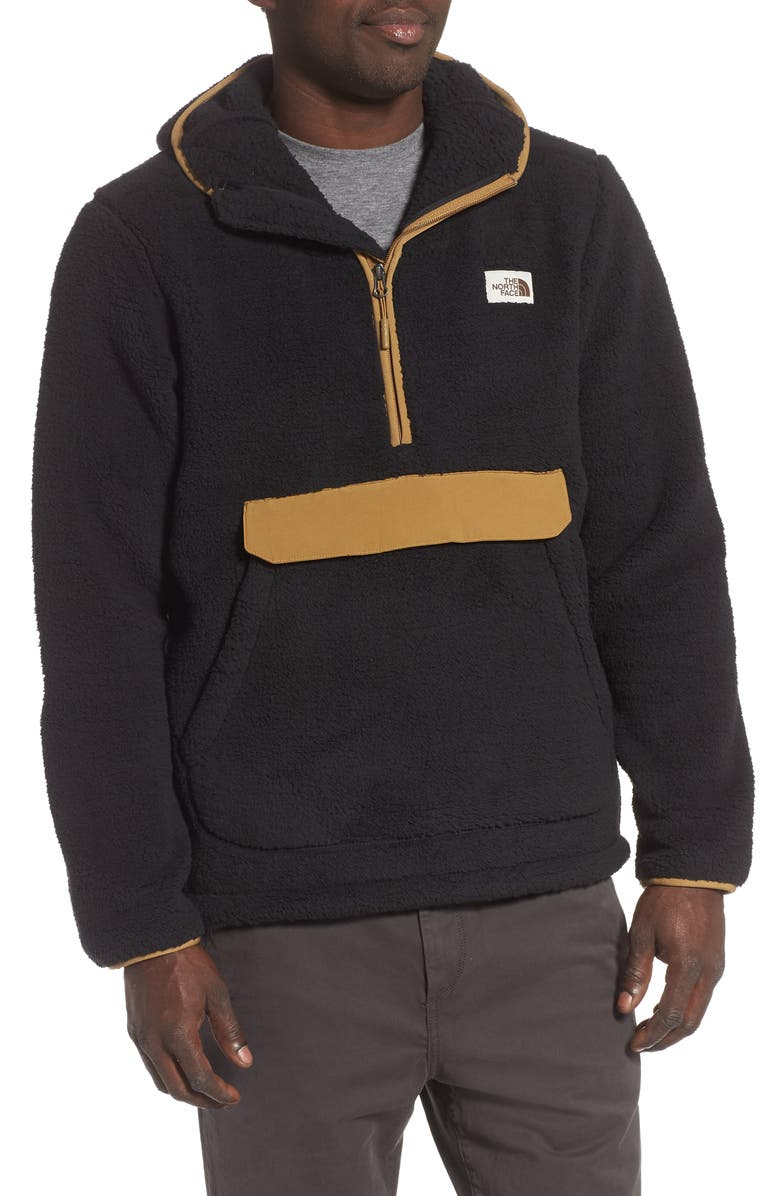 THE NORTH FACE Campshire Faux Fur Pullover Hoodie, Main, color, TNF BLACK/ BRITISH KHAKI