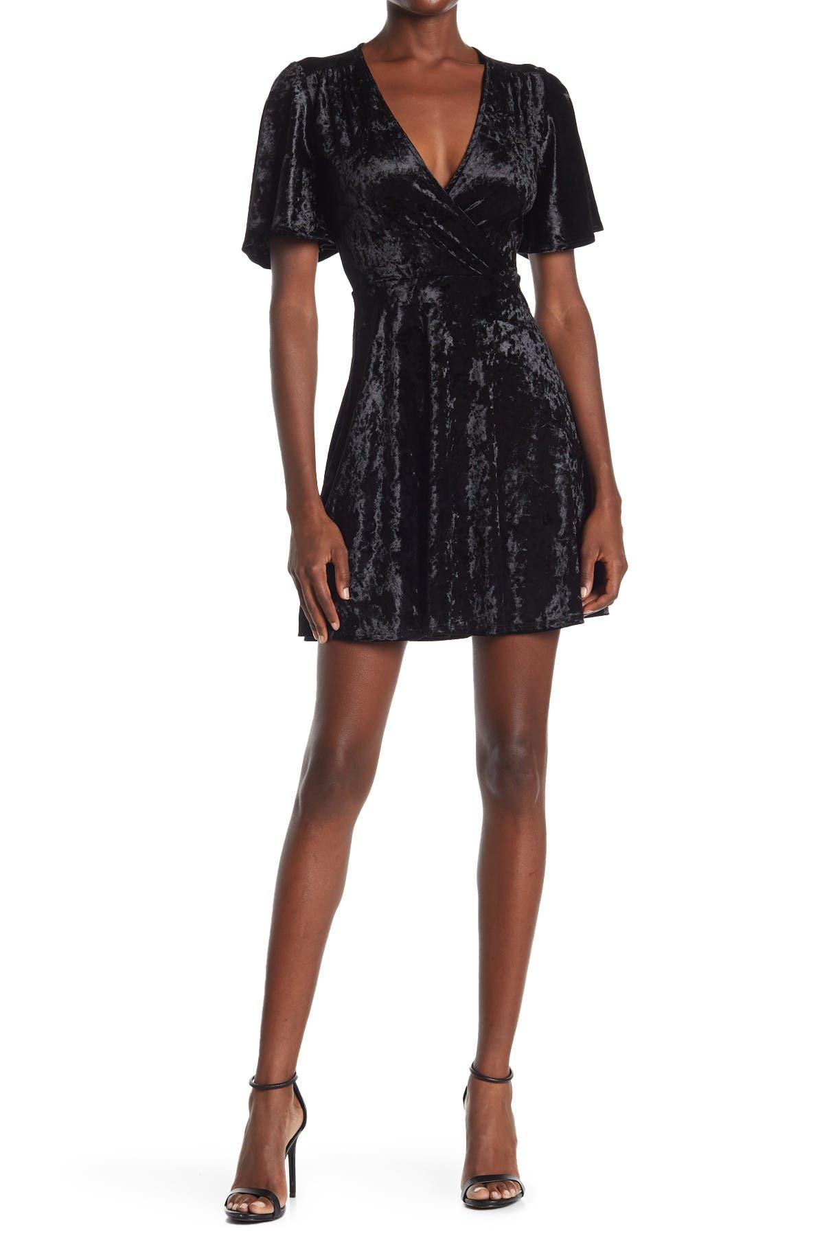 Image of Velvet Torch Ruffle Sleeve Surplice Neck Velvet Dress