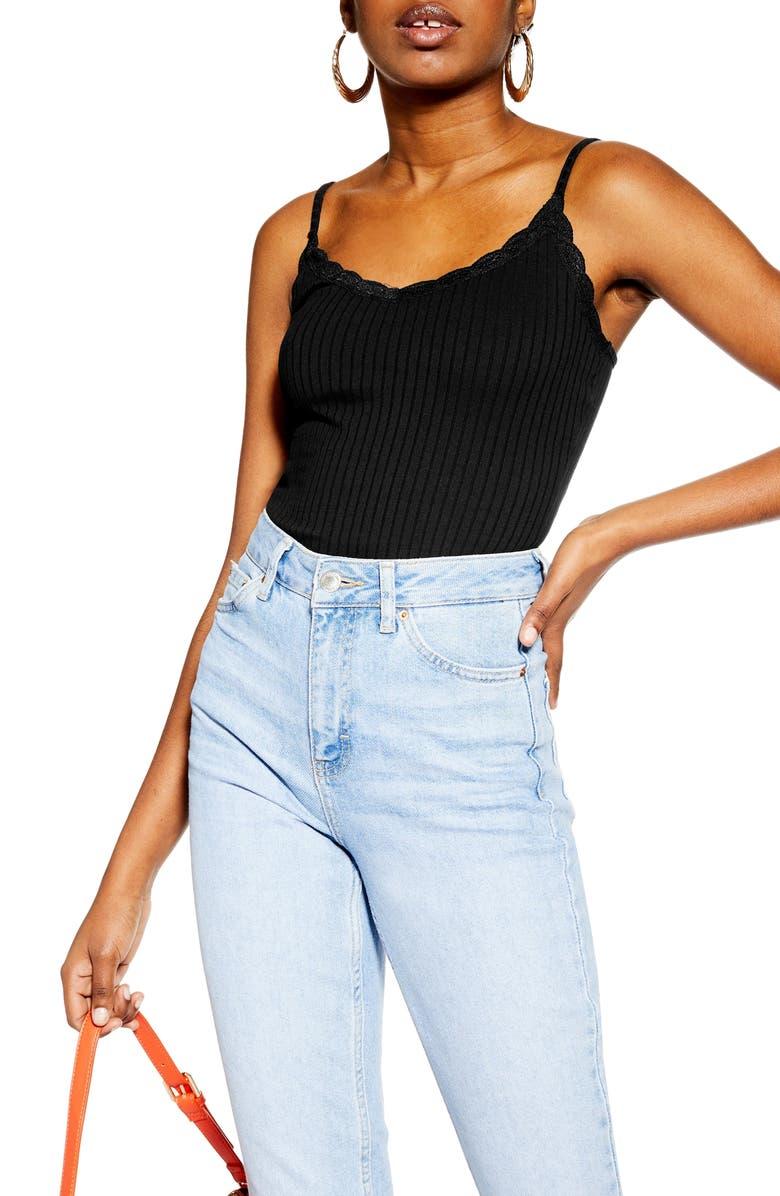 TOPSHOP Lace Trim Camisole, Main, color, BLACK