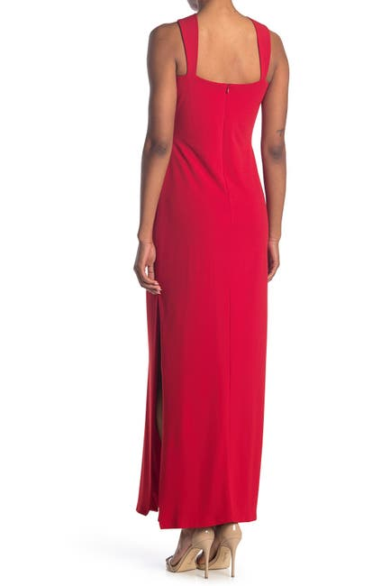 Image of bebe Sleeveless Twisted Neck Gown
