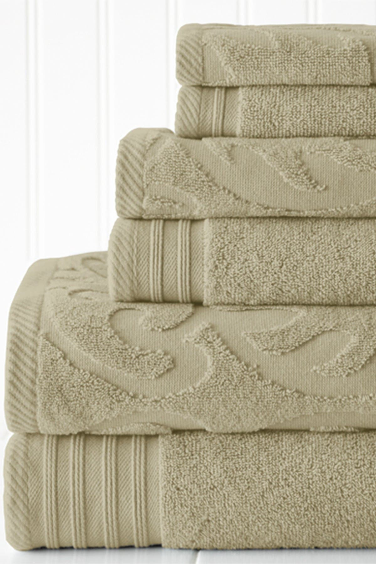 Image of Modern Threads Jacquard Medallion Swirl Solid 6-Piece Towel Set - Taupe