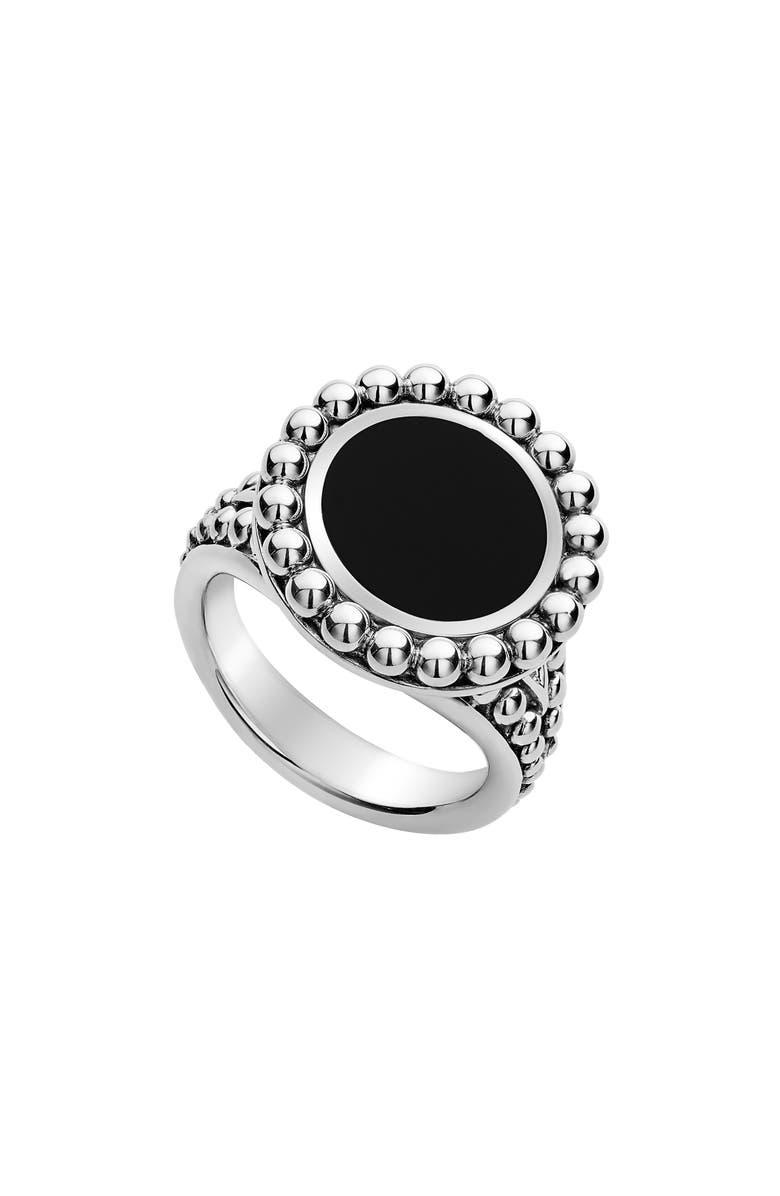 LAGOS Maya Circle Ring, Main, color, SILVER/ ONYX