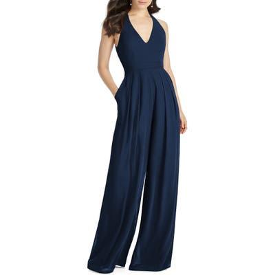 Dessy Collection Arielle V-Neck Lux Chiffon Jumpsuit, Blue