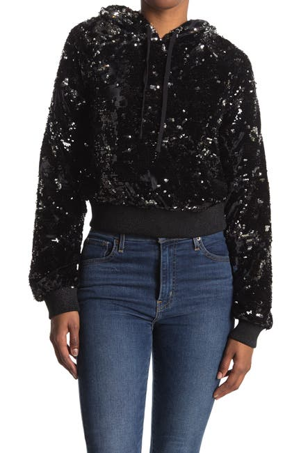 Image of PAM AND GELA Sequin Velour Crop Hoodie