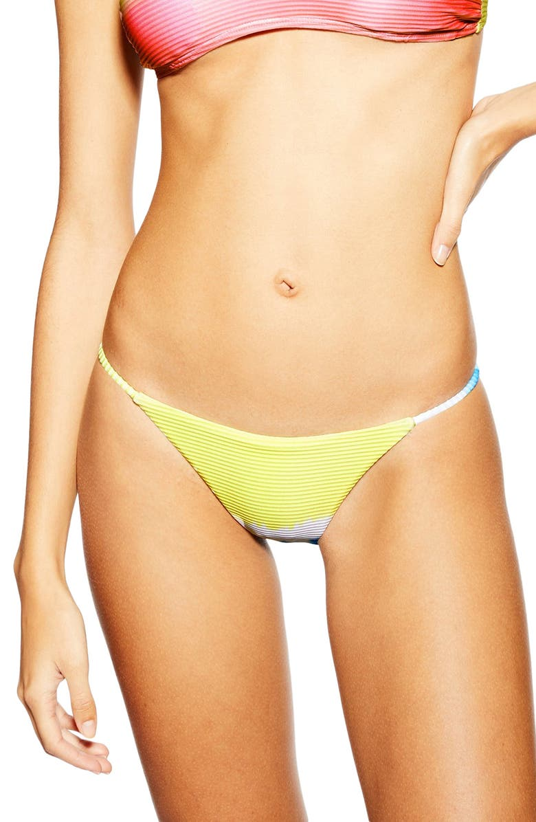 TOPSHOP Tie Dye Ribbed Bikini Bottoms, Main, color, YELLOW MULTI