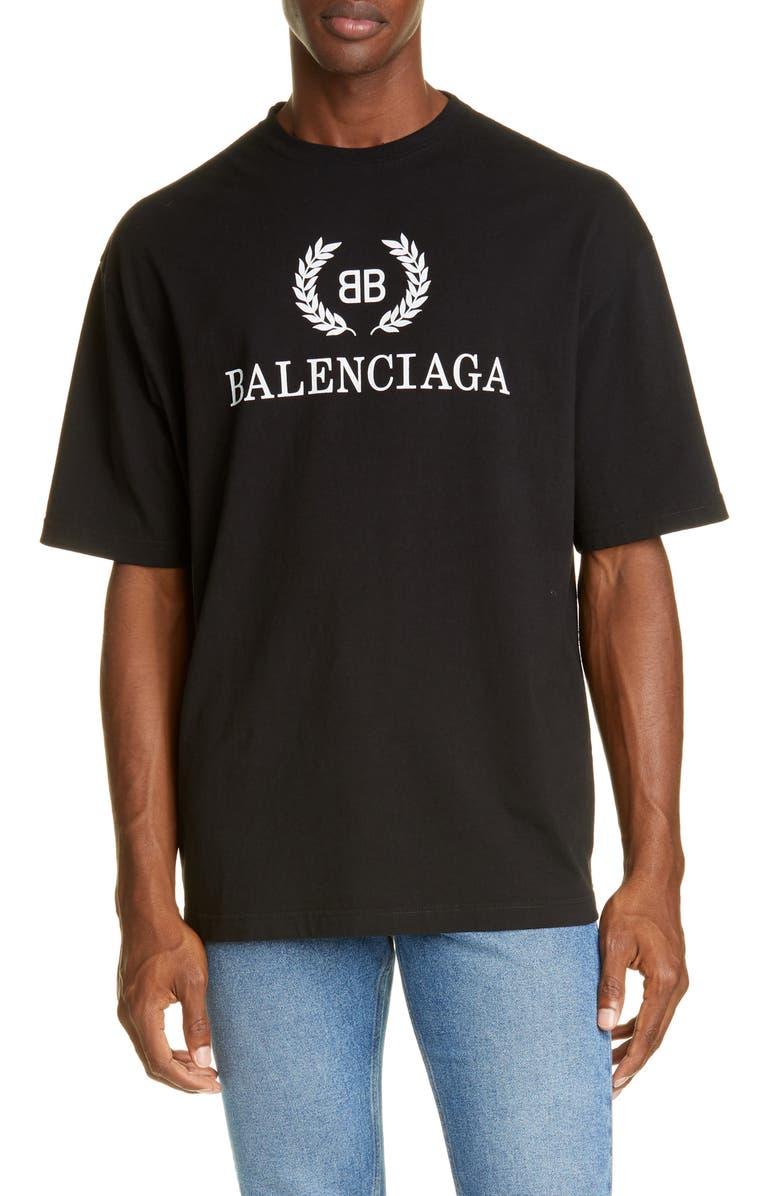 BALENCIAGA New BB Logo T-Shirt, Main, color, 001
