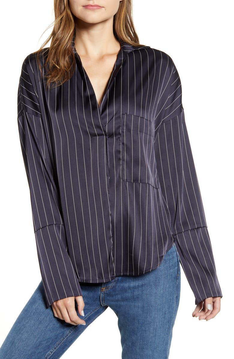BISHOP + YOUNG Amelia Stripe Top, Main, color, NAVY STRIPE