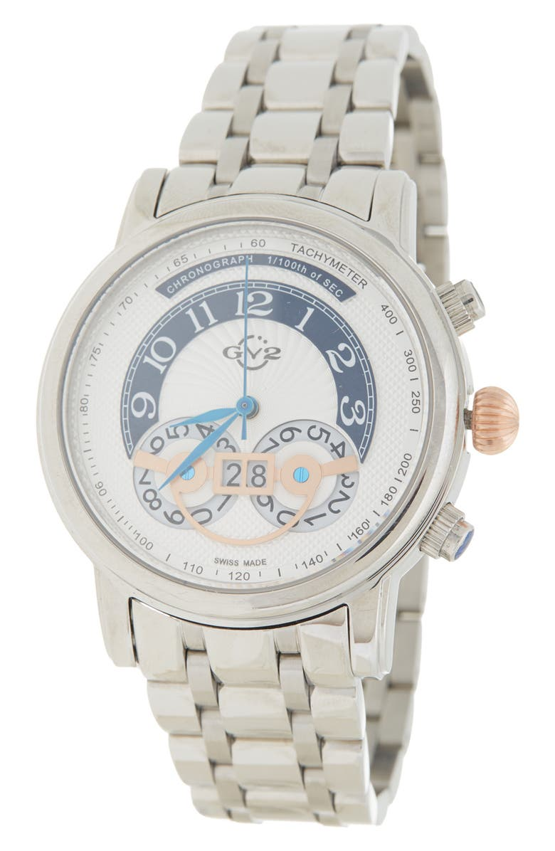 GEVRIL Men's Montreux Bracelet Watch, 44mm, Main, color, STAINLESS STEEL