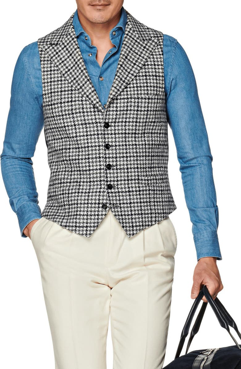 SUITSUPPLY Check Wool Blend Vest, Main, color, OFF WHITE