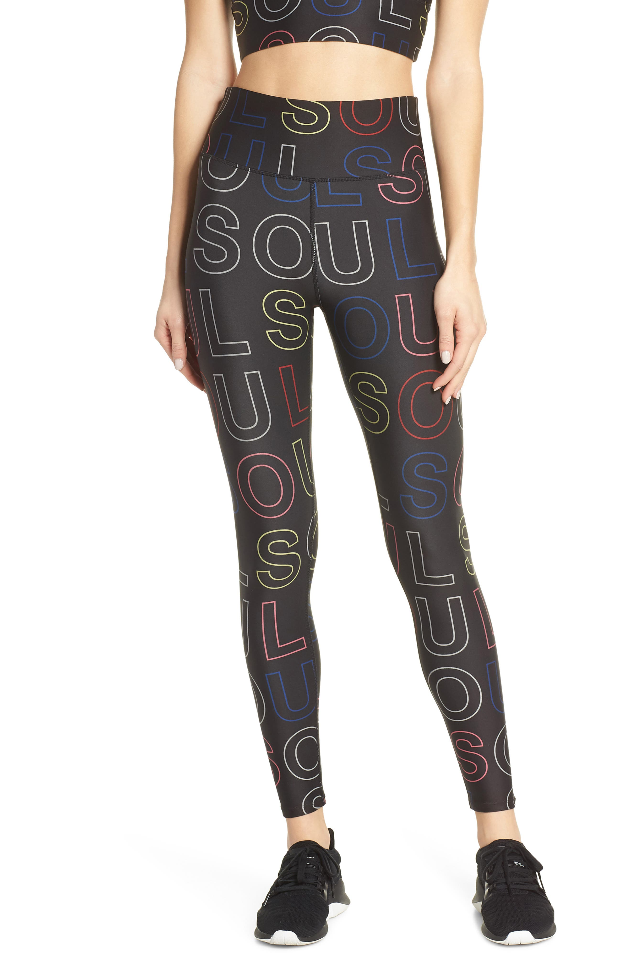 Soul By Soulcycle High Waist Logo Print Tights, Black