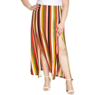 Plus Size Eloquii Stripe Side Slit Maxi Skirt, Brown