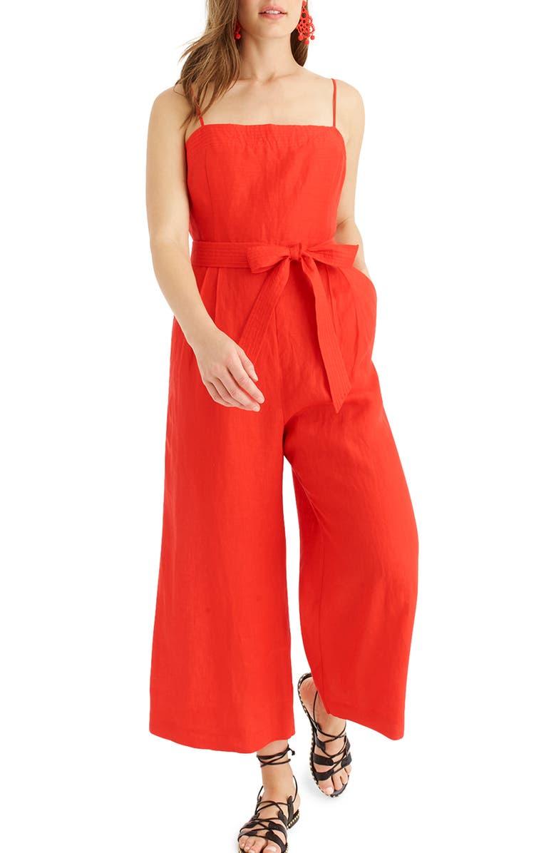 J.CREW Spaghetti Strap Linen Jumpsuit, Main, color, 600